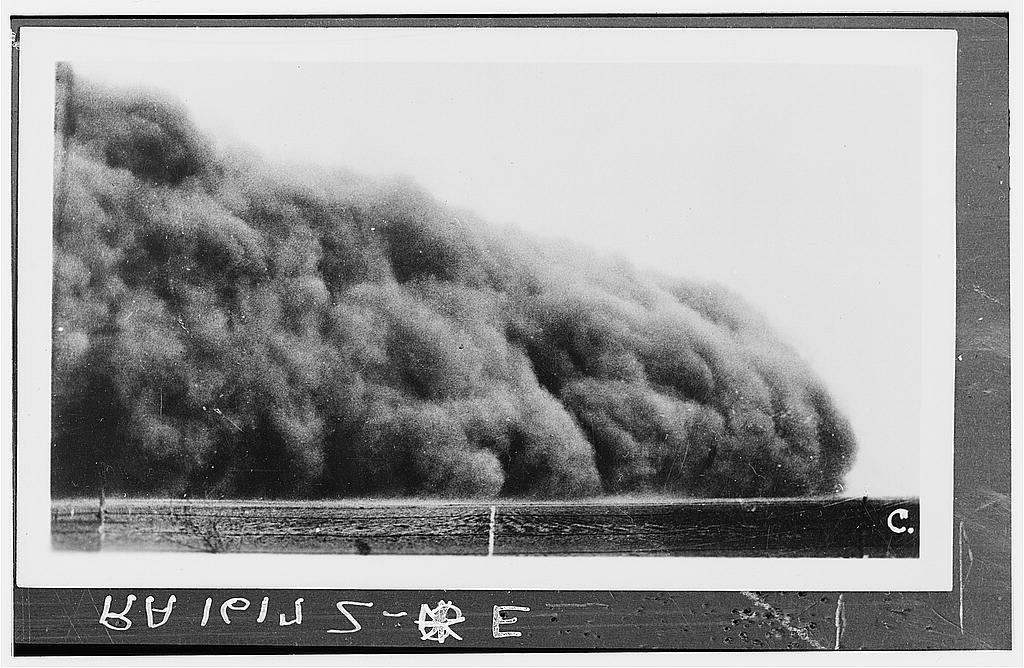 The hybrid character of an approaching dust storm. Prowers County, April 1935.